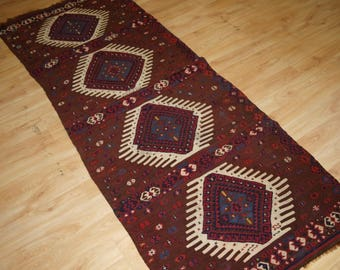 Antique Turkish Hakkari Kilim, South East Anatolia, Beautiful Design, Late 19th Century.