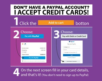 You can purchase without a PayPal account//How to complete payment with credit card through PayPal//Please follow this simple instructions