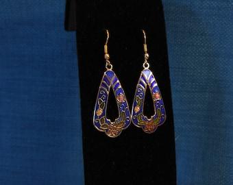 Blue Floral Cloisonne Earrings- 80s Earrings- Pretty Dangle Earrings- Art Deco- Roses- Gold and Blue- Vintage Cloisonne- Boho Earrings