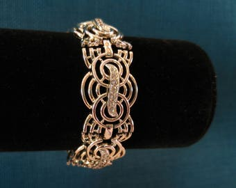 Art Deco Silver Tone and Rhinestone Marboux Bracelet- Marcel Boucher- Vintage Glam- 1940s Jewelry- Great Design- Rare Vintage Jewelry