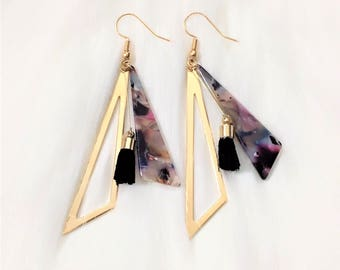 Gold Plated Elegant Triangle Outline Marble Pendant Drop Earrings