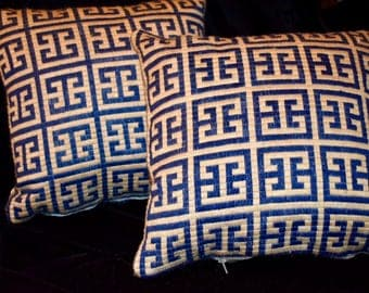 Matching Needlepoint Pillows custom-made in Silk & Leather
