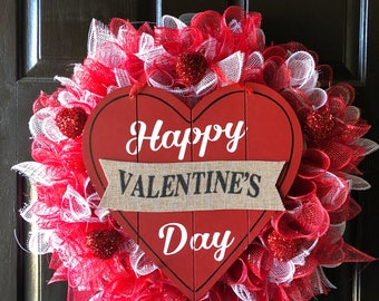 Valentine's Day Deco Mesh Wreath with Hearts