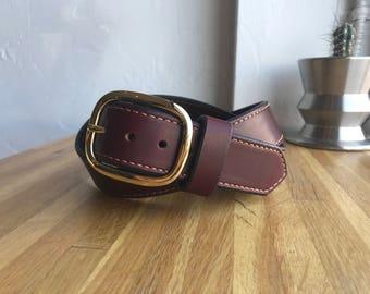 Leather Belt Brass Buckle
