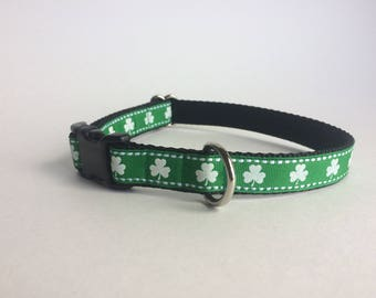 St. Patrick's Day dog collar, Shamrock dog collar, Four leaf clover dog collar, Snap closure dog collar, Adjustable dog collar