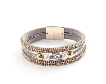 Bracelet * Glitter stones gilded Grey