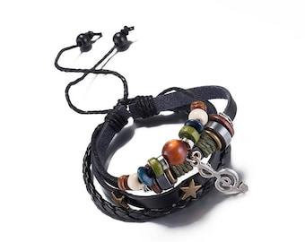 Leather bracelet * Note key wood beads Black