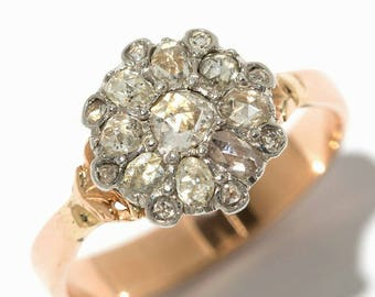 Rose cut diamond Gold Ring with Floral Diamond Shape