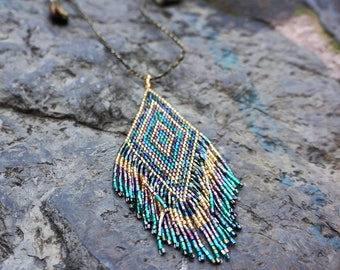 Hippie Necklace, Festival Jewelry, Embroidered Pendant, Boho Tribal Necklace, Seed Bead Necklace, Geometric Pendant, Fringe Pendant Necklace