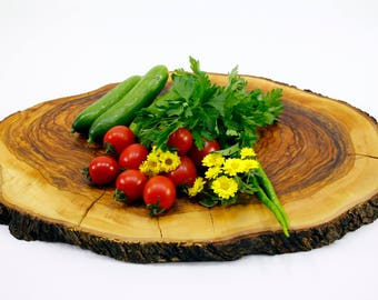 Round Serving Board Made by Natural Olive Wood