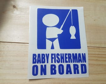 Baby Fisherman on Board Vinyl Decal