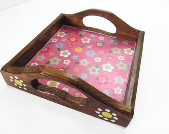 Small Wooden Pink Flower Decorative Tray