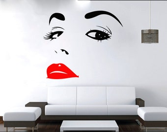 Wall Decal Window Sticker Beauty Salon Woman Face Eyelashes Lashes Eyebrows Brows t19