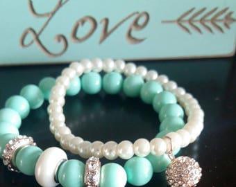 Classic Aqua and Pearl Bracelet