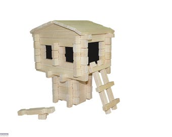 Roy Toy Earth Friendly 73 pc Log Tree House Building Set, Made in the USA