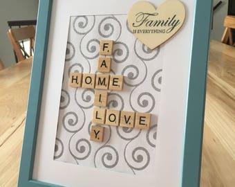 Custom crossword etsy family home love scrabble frame birthday gift housewarming gift anniversary gift negle Images