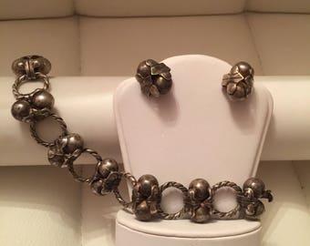 Vintage Taxco sterling silver bracelet /earrings set