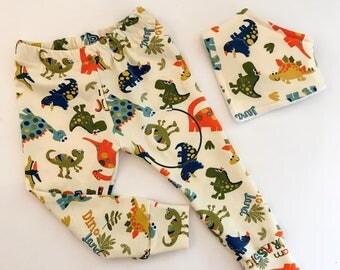 Dinosaur Leggings and optional bib