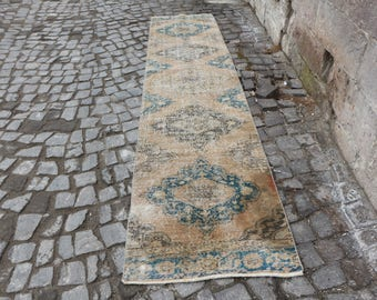 faded colored oushak runner rug turkish rug, Free Shipping handknotted runner carpet 2.5 x 11.6 ft. unique long size ethnic boho rug MB240