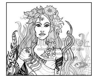 Dragons & Other Mythical Creatures, High Def Digital Download, Coloring Book Sample, illustrated by Sande Jones-Elkins