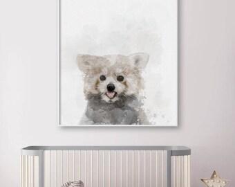 Red Panda Portrait - AnimalArt - Watercolor Technique - Wall Art - Asian Animal - Baby Animal - Nursery Decor