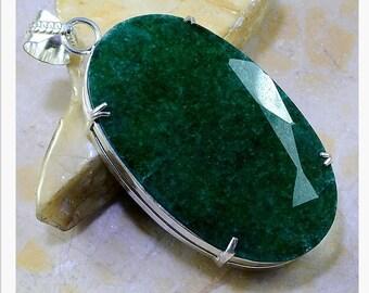 Big emerald/beryl silver plated pendant. Top quality oval beryl pendant. Unique design green beryl pendant.