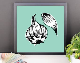 Garlic Block Print