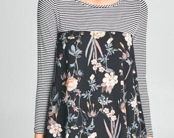 Black and White Tunic Top with floral design
