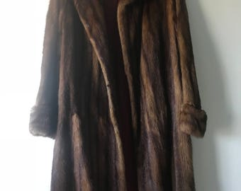 Vintage Muskrat Fur Coat Womens Large