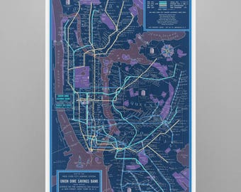 New York City Old Subway Antique Vintage Map