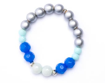 Blue and silver bead stack bracelet