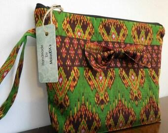 Womens gift luxury unique Thai silk handmade make up bag project bag knitting bag cosmetic bag