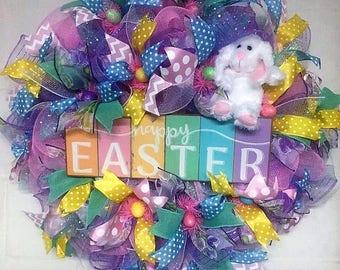 Easter wreath; Front door wreath; Deluxe wreath with Easter bunny