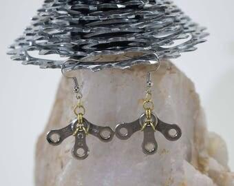 Bicycle Chain Fan Earrings
