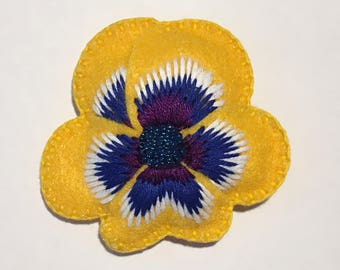 Felt Pansy Brooch in Yellow