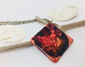 Polymer Clay Jewelry Alcohol Ink Pendant Abstract Art Necklace Square Pendant Necklace Wearable Art - Gift for Her Girlfriend Birthday Gift