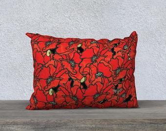 "Pillow Case - Poppies 20"" x 14"""