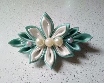 Satin ribbon hairpiece,white and green hair clip, hair accessories, kanzashi, wedding accessory