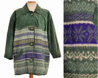 vintage Suede-wool JACKET by Cygielman, Italy / Norwegian pattern / 80s 90s / size XL / green