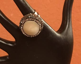Water pearl pave ring..