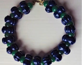 Blue and Green Glass Bead Choker Necklace