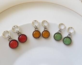 Free shipping 3 colors of stone pendant earrings, cute dangle earrings, gift for her, everyday earrings