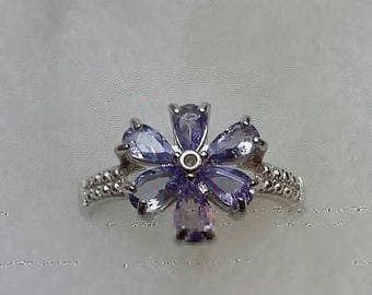 Gorgeous 0.91 ct tw genuine tanzanite sterling silver ring size 8