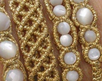 macrame set  bracelets , boho style, summer colors,  handmade jewelry from greece