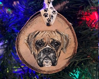 Hand Painted Boxer Ornament