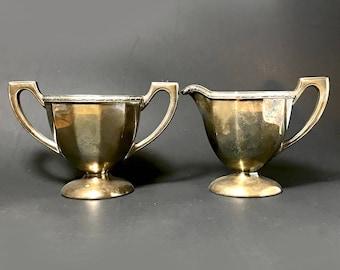 Vintage Silver Cream and Sugar Bowls