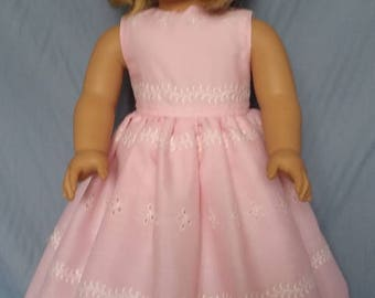 """Pink dress made to fit an 18"""" American Girl Doll"""