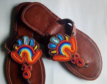 African sandal, beaded sandal,masai sandal, leather sandal,gift for her,women sandal,hand made sandal,kenyan sandal