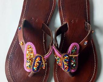African sandal, beaded sandal, masai sandal, leather sandal,fift for her,hand made sandal,kenyan sandal