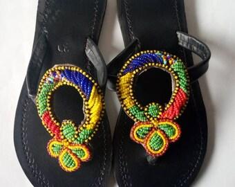 African sandal, beaded sandal,masai sandal,leather sandal,kenyan sandal,gift for her,hand made sandal.
